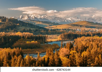 Beautiful autumns panorama over Bialka river gorge and Spisz highland to snowy Tatra mountains, Poland