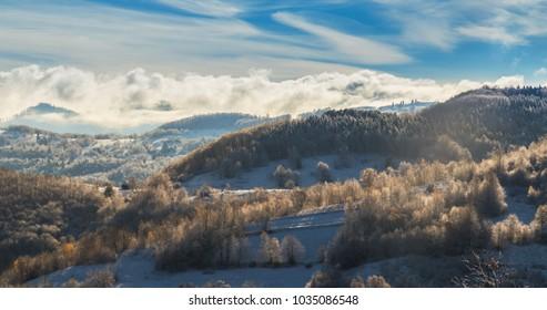 Beautiful autumn-winter scenery in a remote mountain area in Transylvania