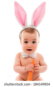Beautiful baby with Bunny Ears and carrot