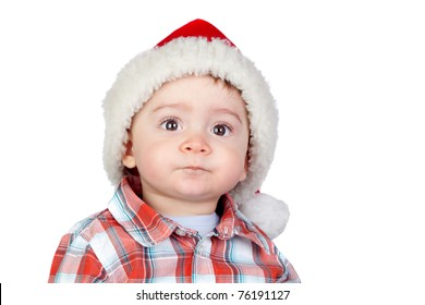 Beautiful baby with Christmas hat isolated on white background