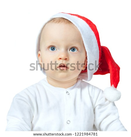 825a0a932 Beautiful Baby Christmas Hat Santa Isolated Stock Photo (Edit Now ...