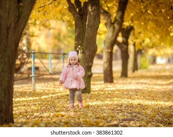 Beautiful baby girl in autumn garden