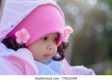 Beautiful baby girl with bokeh background,selective focus.