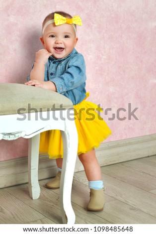 Beautiful Baby Girl Denim Shirt Yellow Stock Photo Edit Now