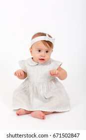 Beautiful baby girl on white background