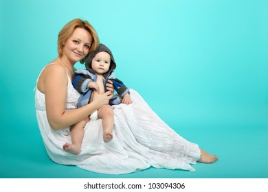 Beautiful baby and happy mother