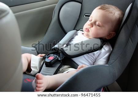Beautiful Baby Sleeping In Car Seat
