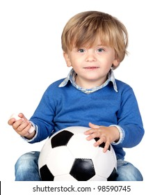 Beautiful baby with a soccer ball isolated on white background