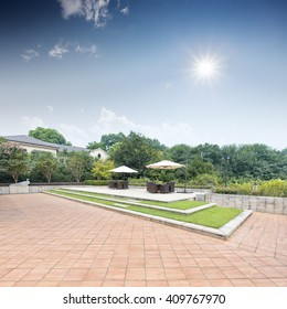 beautiful back yard in modern villa village,which locate in hangzhou