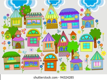 Beautiful background with colorful houses, illustration