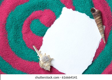 Beautiful background consisting of colored sand, shells, stones and place for an inscription