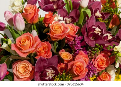 beautiful background of flowers bouquets,Flower bouquet composition for the holiday, festive bouquet of flowers for a wedding, hyacinths, flower Brunei, Tulips,Archimedes , roses,chrysanthemums