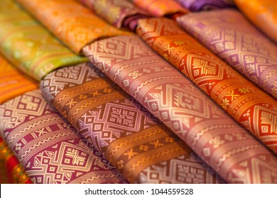 Beautiful background Household handicrafts of Thai silk. Thai Handmade Silk.