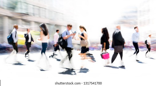 Beautiful background with lots of walking people. City of London modern business life concept. London, UK