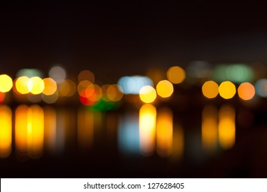 Beautiful background on dark, out of Focus Lights during the Night.