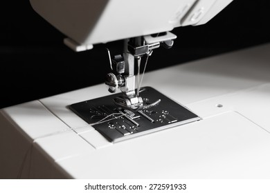 beautiful background sewing electric machine woman leisure lifestyle, shallow depth of field