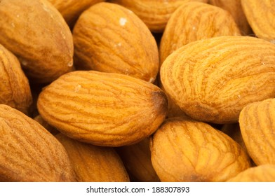 beautiful background of shelled almonds