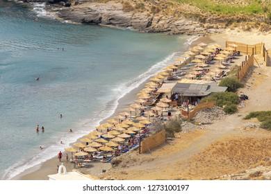 Beautiful baech Chalkolimnionas at Andros island in Greece.