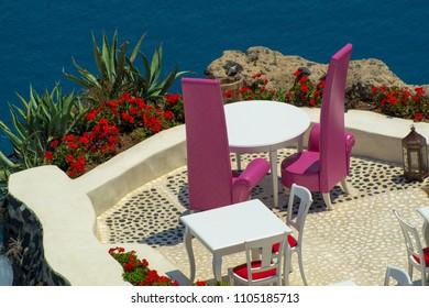 Beautiful balcony of Oia village on Santorini island, Greece