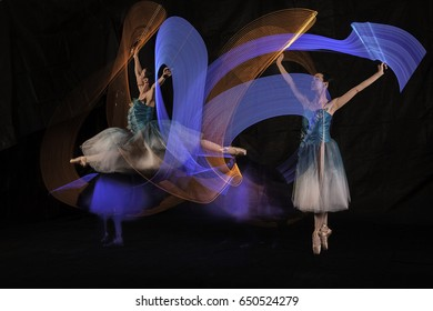 Beautiful Ballerina Dancing with light in Jakarta Indonesia, Shot in several lights to get a unique lighting movement. 28 May 2017