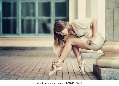 beautiful Ballet dancer (ballerina) outdoors