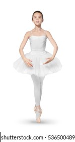 Beautiful ballet dancer on white background