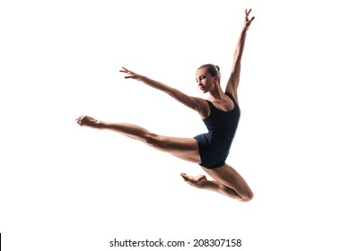 beautiful ballet dancer posing on white isolated background