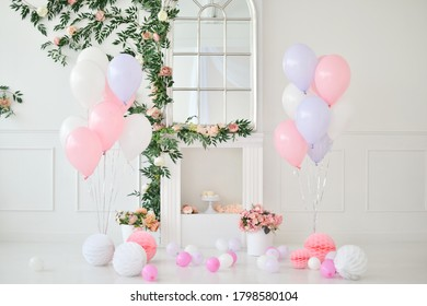 Beautiful balloons pink and white colors.