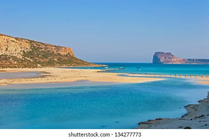 Beautiful Balos Lagoon and Gramvousa island on Crete, Greece. Cap tigani on the left