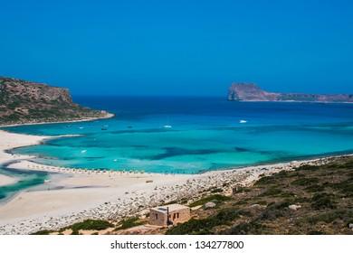 Beautiful Balos Lagoon and Gramvousa island on Crete, Greece. Cap tigani on the left