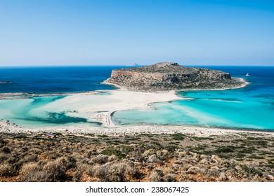 beautiful Balos Lagoon and Gramvousa Island in Hania, Crete.