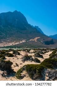Beautiful Balos Lagoon with high mountains and Gramvousa island on Crete, Greece