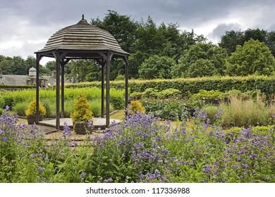A beautiful bandstand like folly in Pollok Park Gardens, near Glasgow, Scotland, UK.