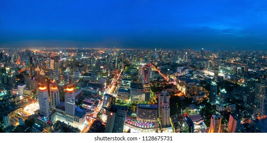 Beautiful Bangkok city, bird eye view on modern new buildings or skyscrapers cityscape on daytime and night time, panoramic scene showing urban skyline and business office towers