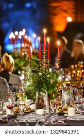 Beautiful banquet table setting for party or New Year celebration at restaurant