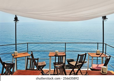 beautiful  bar overlooking the sea sunset