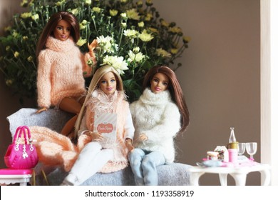 A beautiful barbie with a long white and brown hair. Stylish dolls. Editorial use only. Doll and chrysanthemums. Autumn and winter.