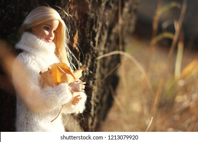 A beautiful barbie with long white and brown hair. Stylish dolls. Editorial use only. Autumn.