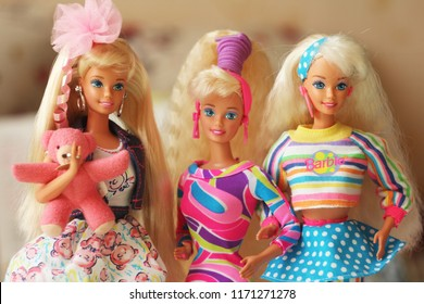 A beautiful barbie with a long white hair. Stylish doll. Editorial use only.