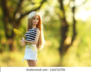 A beautiful barbie with white and brown hair. Stylish blondy doll. Editorial use only.