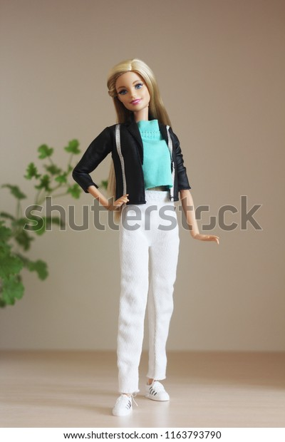 A beautiful barbie with white hair. Stylish doll. Editorial.