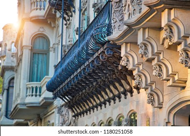 Beautiful Barcelona streets in historic center