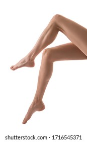 beautiful bare woman legs white background