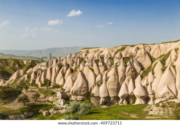Beautiful barren landscape -  pink rocks, Goreme, Cappadocia, Central Anatolia, Turkey