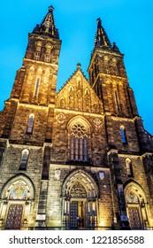 Beautiful basilica of Saint Peter and Saint Paul, Vysehrad, Prague, Czech republic. Evening scene. Religious architecture. Travel destination.