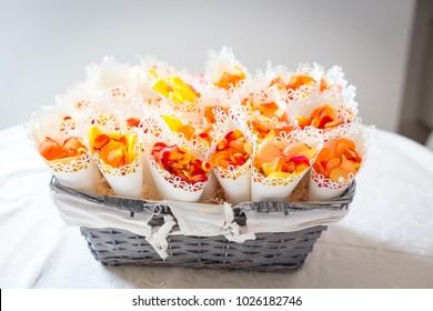 Beautiful basket and wedding confetti