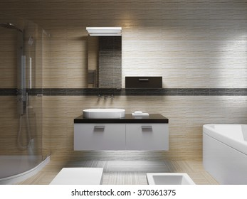 Beautiful bathroom interior, evening light. Front view on sink console with mirror.  3D render