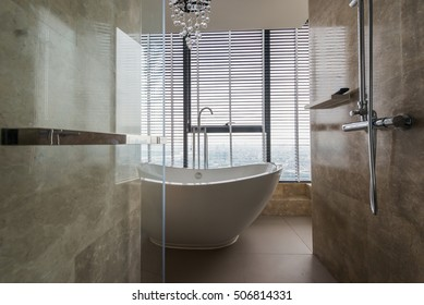 Beautiful bathroom interior in Luxury apartment