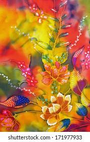 Beautiful batik sutera patterns in digital oil painting
