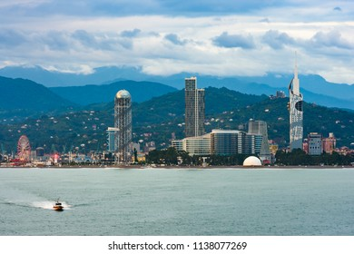 Beautiful Batumi, Georgian resort city and port at Black Sea – panoramic view from sea in early summer morning
